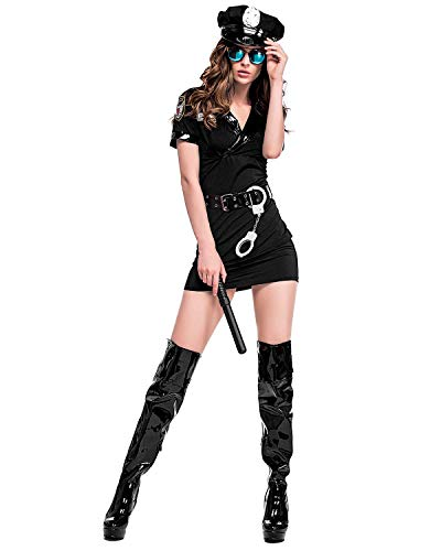 Quesera Women's Cop Costume Police Uniform Halloween Outfit for Adult with Handcuff, Baton, Belt, Black, Tag Size 2XL=US Size X-Large]()