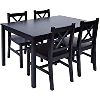 Merax 5 PC Solid Wood Dining Set 4 Person Table and...