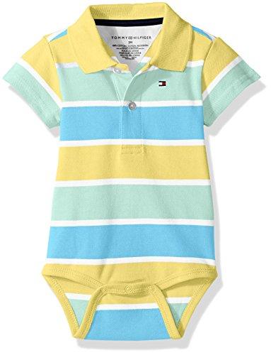 Tommy Hilfiger Baby Boys' Short Sleeve Striped Shaun Bodysuit, Tara Yellow, 3 Months