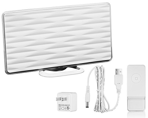 ViewTV VT-826DJ 50 Mile Range All-In-One Indoor HD Amplified Digital TV Antenna with Built-In Wireless Doorbell Receiver - White