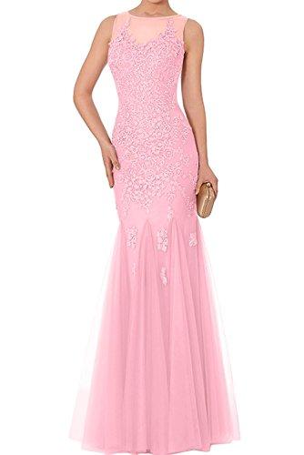 Abiballkleider Abendkleider Damen Hell Meerjungfrau Rosa Promkleider Abschlussballkleider Spitze lang Charmant x1XqHH