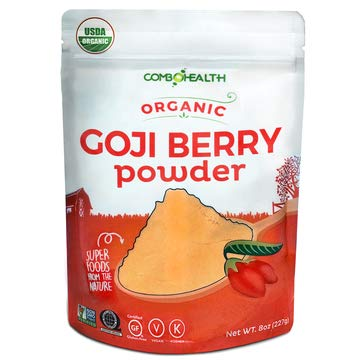 - ComboHealth Goji Berry Powder - 8oz Bag, Organic Goji Powder, Freeze-Dried Wild Goji Berries, Super Boost of Antioxidants, Great for Making Goji Juice, Baking, and Blending in Smoothies