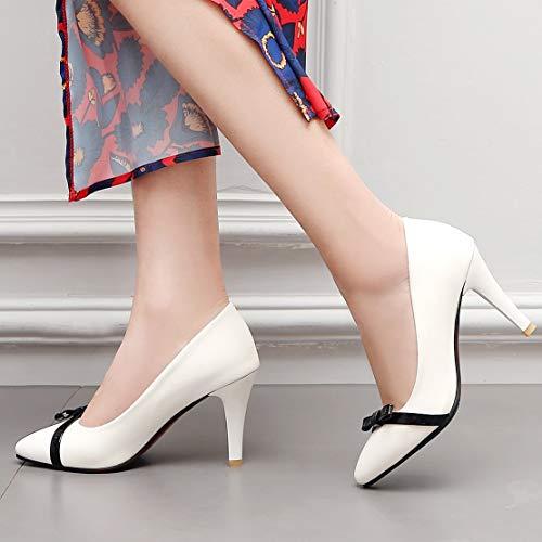 Femme Escarpin Cuir Noeud Haut Pointu Kikiva Talon Blanc Bout Aiguille Chaussures Verni 5Txnq6w