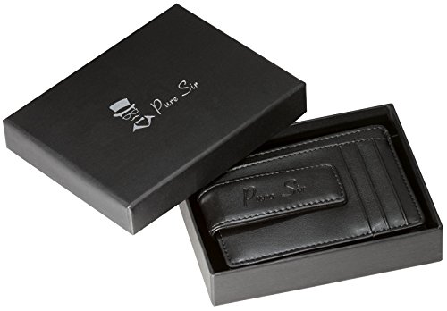 Pure Sir Mens RFID Genuine Leather Slim Wallet w/ Money Clip - The Minimalist Wallet