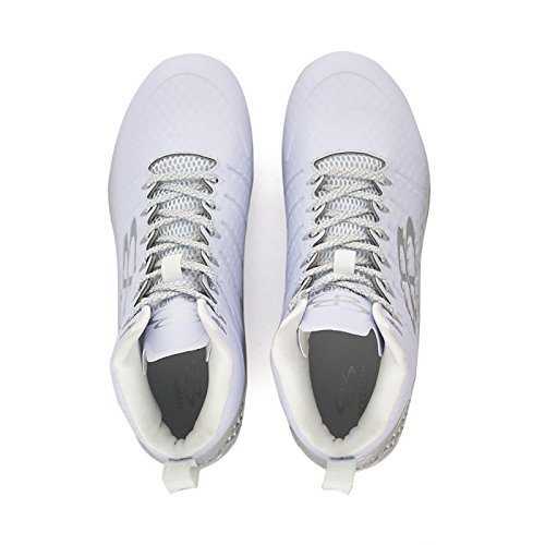 12 Boombah White Mid Football Cleats Multiple Options Sizes Mens Silver Color Gunner Molded WWPTYn