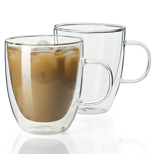 Sweese 4602 Glass Coffee Mugs - 12.5 oz Double Walled Insulated Mug Set with Handle, Perfect for Latte, Americano, Cappuccinos, Tea Bag, Beverage, Set of 2 -
