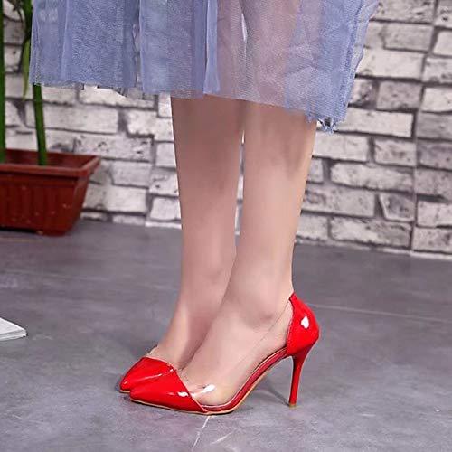 ZHZNVX Negro Tacones Zapatos Aguja Poliuretano y Básico Rojo de Otoño Black Fiesta Noche PU Bomba de Rosa Mujer Tacón rrpx87f