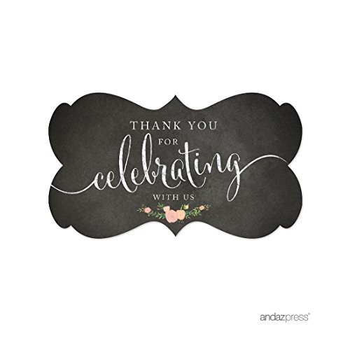 Andaz Press Fancy Frame Rectangular Label Stickers, Thank You for Celebrating With Us, Chalkboard Floral Roses, 36-Pack (Mini Wine Labels)