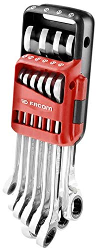 Facom 467B. JP10 Ratchet Combination Spanner Metric with Imperial Set, Silver, Set of 10 Pieces by Facom