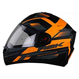 Steelbird SBA-1 R2K Full Face Graphics Helmet in Matt Finish with Clear Visor (Large 600 MM, Matt Black Orange)