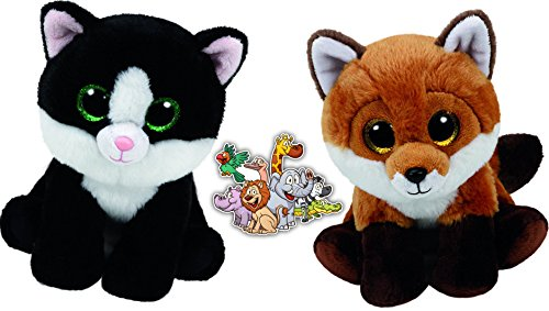 [Ty Beanie Beabies Brown Fox Fay and Black & White Cat Ava Unusual Friends Gift set of 2 Plush Toys 6-8 inches tall with Bonus Animals] (Monster High Kitty)
