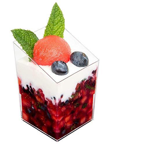 Mini Dessert Cups, 24 Pcs/set Elegant Clear Slanted Cylinder Mini Dessert Appetizer Cup 2.5oz Plastic Tasting/Sample Shot Glasses Parfait Glass/Souffle Jello Tumbler Cups Kiwishow