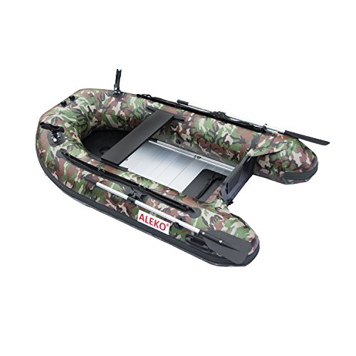 ALEKO BTF250CM PRO Fishing Boat Raft 8.4 Feet with Aluminum Floor 3 Person Inflatable Boat with Fishing Rod Holders, Camouflage