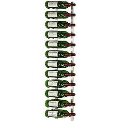 VintageView - WS42-P - 24 Bottle Wall Mounted Metal Hanging Wine Rack - 4 Foot (Brushed Nickel)