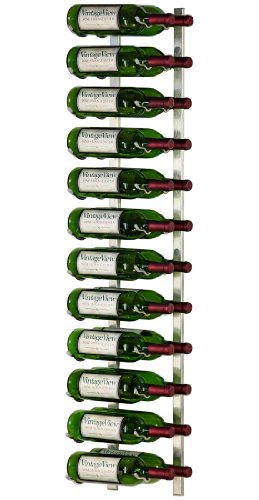 VintageView - WS42-P - 24 Bottle Wall Mounted Metal Hanging Wine Rack - 4 Foot (Brushed Nickel)