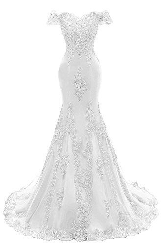 LotviaBridal Women's V Neck Beaded Long Evening Gowns Mermaid Lace Prom Dresses White