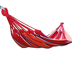 """[2015-MAY NEW ARRIVALS !] Adeco Naval-Style Cotton Fabric Canvas Hammock Tree Hanging Suspended Outdoor Indoor Bed Antigua / Red Color, 63"""" Wide"""
