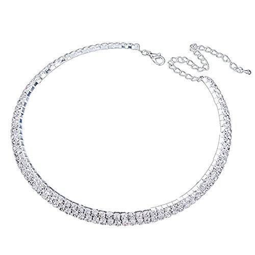 [Habeats Rhinestone Crystal Collar Choker Necklace 2 Rows] (Good Costumes For Two Best Friends)