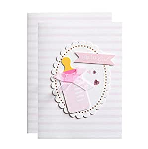 Baby Girls Shower Blank Invitations with Envelopes Cute Feeding Bottle Invite Cards 25 Pack