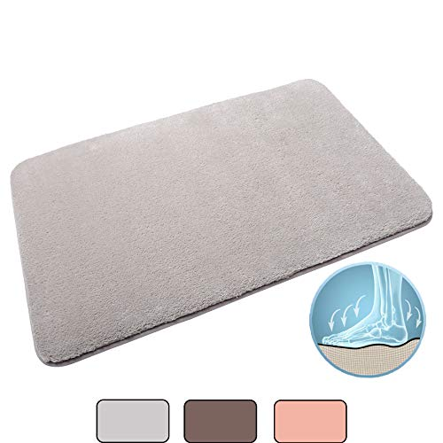Bath Mat Soft Bathroom Rugs, Shaggy Shower Rug, Non Slip Bath Rugs, Absorbent Bathroom Mat Rugs, Shower Mat, Comfortable Bathroom Mat (20 x 32 inch, Grey)