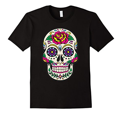 Sugar Skull Costume Male (Mens Flower Sugar Skull Costume TShirt Sugar Skull Costume Plus S XL Black)