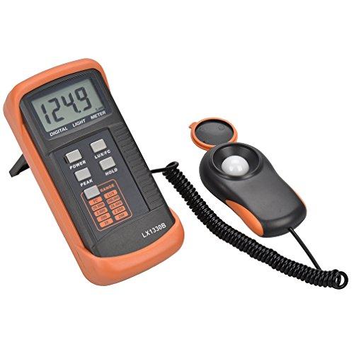 - MoonCity Digital Light/Illuminance Meter LX1330B ,0.1 - 200000 Lux Luxmeter Tester LCD Display Precise (Black + Orange)