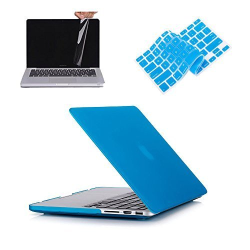"""Ruban® - Retina 13 3 in 1 Soft-Touch Hard Case Cover and Keyboard Cover for Macbook Pro 13.3"""" with Retina Display Models: A1502 & A1425 - LIGHT BLUE"""