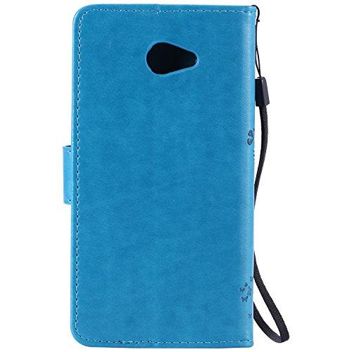 Funda con tapa de alta calidad, con soporte, fina, elegante, de piel sintética, para Apple iPhone, cuidado fácil, diseño moderno, antiarañazos y antigolpes, LG K5, azul