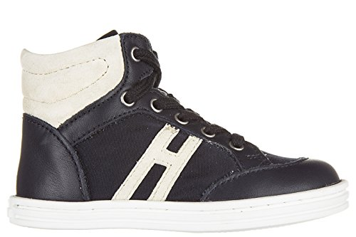 Hogan Rebel scarpe sneakers bambino alte pelle nuove rebel r141 blu