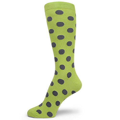 (Spotlight Hosiery Men's Polka Dots Dress Socks,Lime Green/Gray)