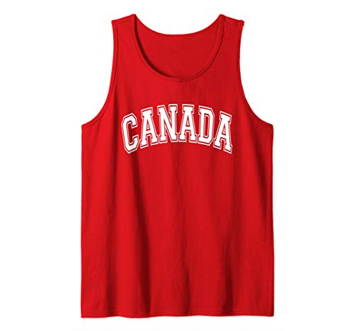 - Canada Varsity Style Red with White Text Tank Top