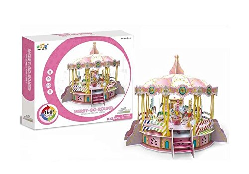 Big Daddy's 3-D Puzzel Building Set, Amusement Park Series With Lights, Sound And Movement, Take Your Imagination On A Ride And Create A Carousel Merry Go Round