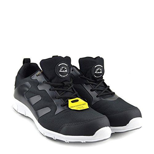 Kick Footwear Basisarbeit Herren Sicherheitsschuhe mit Stahlkappen Schwarz-Weiß