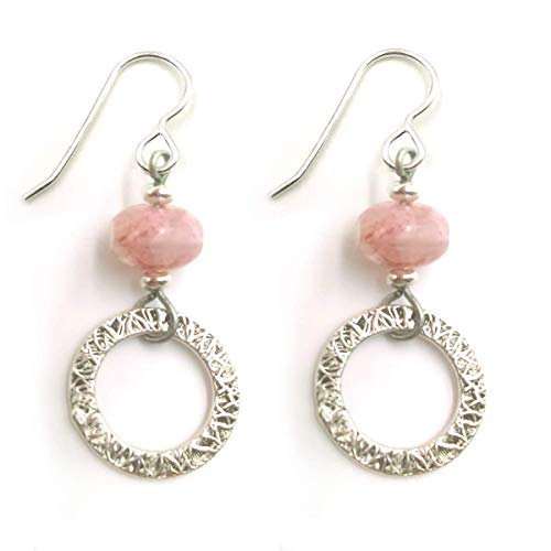 Textured Open Circles with Icy Pink Glass Dangle Drop Earrings Antique Silver Finish Minimalist Shapes ()
