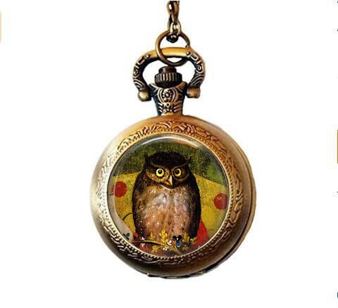 lukuhan Hieronymus Bosch Owl Jewelry - Owl Pendant Pocket Watch Necklace