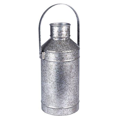 Household Essentials 9730-1 Vintage Style Milk Pail Vase - Grey Metal