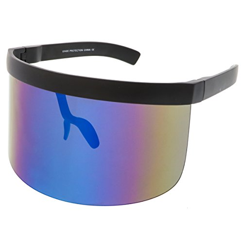 sunglassLA - Futuristic Oversize Shield Visor Sunglasses Flat Top Mirrored Mono Lens 172mm (Blue Mirror) (Sunglasses Shield)