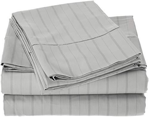 Charisma 310 Thread Count Classic Stripe Cotton Sateen Full Sheet Set in Dawn Blue (Renewed)