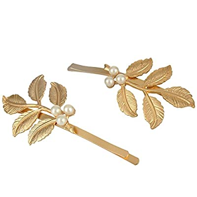 EVER FAITH® Alloy Cream Simulated Pearl Bridal 5-Leaf Pair Hair Pin Headpieces Gold-Color