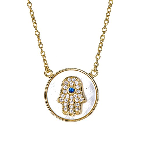 Sterling Silver Pendant Necklace with CZ Crystal Round Hamsa Hand Evil Eye Mother of Pearl Charm, Gold Rhodium Plated 925 Silver, Adjustable Chain Length 16