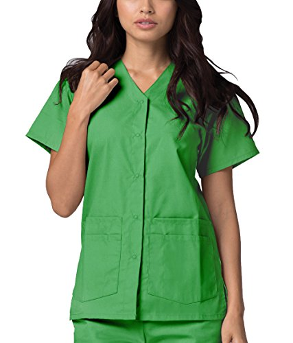 Adar Universal Double Pocket Snap Front Top (Available in 39 Colors) - 604 - Sour Apple - XS