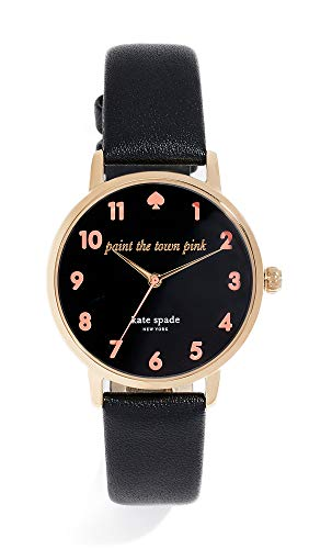 (Kate Spade New York Women's Metro Watch, 34mm, Black/Pink, One Size)