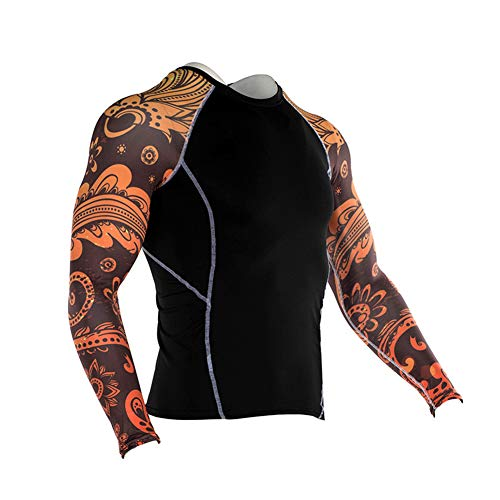 Men's Sports Compression Apparel Base Layers Workout Long Sleeve Shirt Tiger Print Tattoo Running Motion Training Sport…