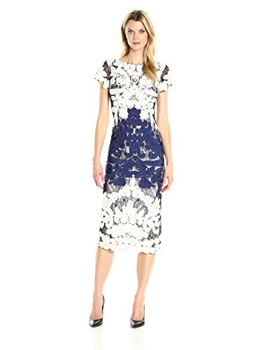 Collection Womens Dress - JS Collection Women's Short Sleeve Embroidered Midi, Ivory/Navy, 8