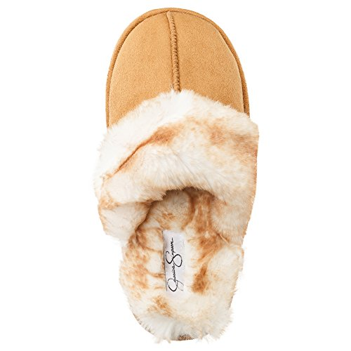 Jessica Simpson Faux Fur Slip On Womens House Slipper With Memory Foam  Size Small  Tan