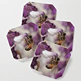 Society6 Drink Coasters, Worker Bee on Mexican Sage by rscarlson, set of 4