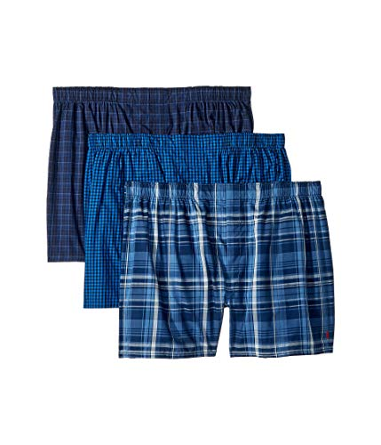 (Polo Ralph Lauren Men's 3-Pack Classic Fit Packaged Woven Boxers Lewis Plaid/Davies Plaid/Knox Plaid X-Large)