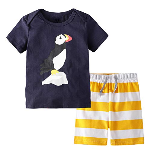 (BIBNice Boys Summer Pajamas Toddler Cotton Clothes Sets Penguin Size 6t)