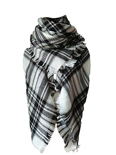 (Large Tartan Fashion Women Scarf Lovely Best Gift Scarf Wrap Shawl White)