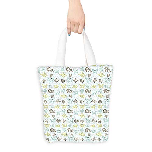 Fishes tote bag for women Aquarium Animals Tropical Fishes and Crabs on Seafoam Backdrop Aquatic Doodle Sketch Large Capacity 16.5